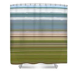 Sky Water Earth Grass Shower Curtain by Michelle Calkins
