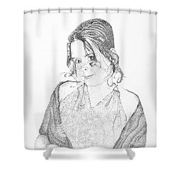 Shower Curtain featuring the drawing Skye by Mayhem Mediums