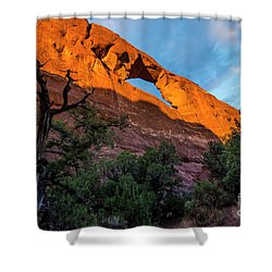 Shower Curtain featuring the photograph Skyline Arch At Sunset - Arches National Park - Utah by Gary Whitton