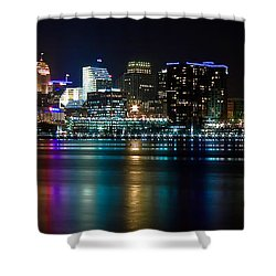 Skyline At Night Shower Curtain by Keith Allen