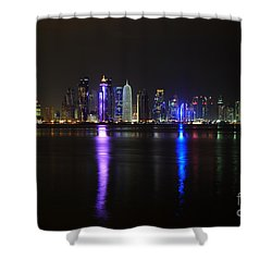 Skyline Of Doha, Qatar At Night Shower Curtain