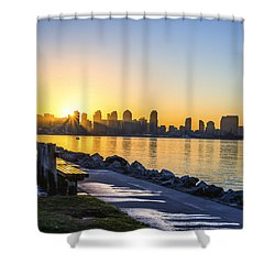 Skyline Sunrise Shower Curtain by Joseph S Giacalone