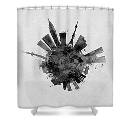 Black Skyround / Skyline Art Of Tokyo, Japan Shower Curtain