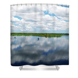Skyscape Reflections Blue Cypress Marsh Conservation Area Near Vero Beach Florida C2 Shower Curtain
