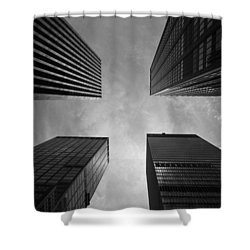 Shower Curtain featuring the photograph Skyscraper Intersection by Linda Edgecomb