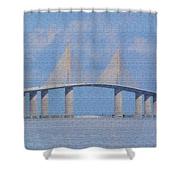 Shower Curtain featuring the photograph Skyway Bridge by Rosalie Scanlon