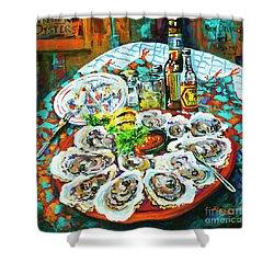 Slap Dem Oysters  Shower Curtain by Dianne Parks