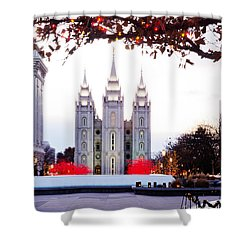 Slc Temple Red And White Shower Curtain by La Rae  Roberts