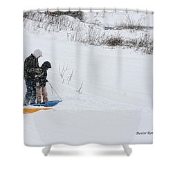 Sledding Shower Curtain by Denise Romano