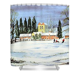 Sledding With Dad Shower Curtain by Bill Holkham