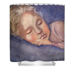 Sleeping Beauty Shower Curtain by Marilyn Jacobson