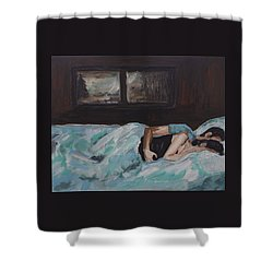 Sleeping In Shower Curtain by Leslie Allen