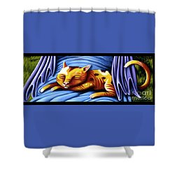 Sleeping Kitty Shower Curtain