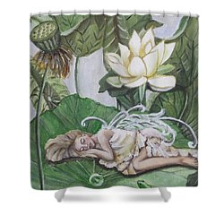 Sleeping Lotus Fairy Shower Curtain by Kim Selig