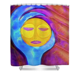Sleeping Moon Watercolor Painting Shower Curtain