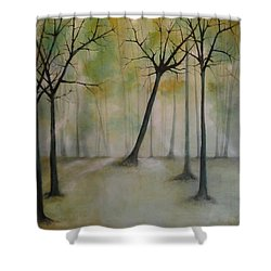 Shower Curtain featuring the painting Sleeping Trees by Tamara Bettencourt