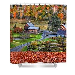Sleepy Hollows Farm Woodstock Vermont Vt Autumn Bright Colors Shower Curtain