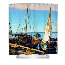 Sleepy Sail Boats Zanzibar Shower Curtain