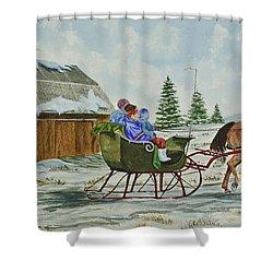 Sleigh Ride Shower Curtain by Charlotte Blanchard