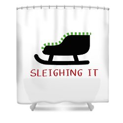 Sleighing It- Art By Linda Woods Shower Curtain