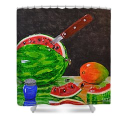 Sliced Melon Shower Curtain by Melvin Turner