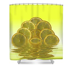 Slices Lemon Citrus Fruit Shower Curtain by David French