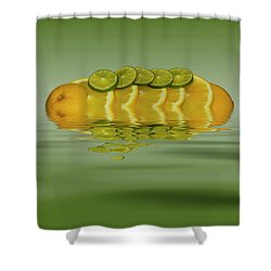 Shower Curtain featuring the photograph Slices Orange Lime Citrus Fruit by David French