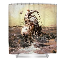 Slick Rider Shower Curtain by Charles Russell