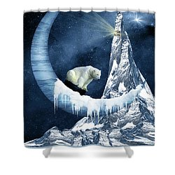 Sliding On The Moon Shower Curtain by Mihaela Pater