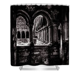 Shower Curtain featuring the photograph Sligo Abbey Interior Bw by RicardMN Photography