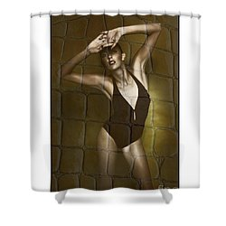 Shower Curtain featuring the photograph Slim Girl In Bathing Suit by Michael Edwards