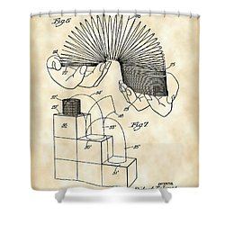 Slinky Patent 1946 - Vintage Shower Curtain