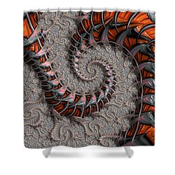 Slithering Creatures Fractal Shower Curtain by Dee Flouton