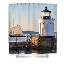 Sloop And Lighthouse, South Portland, Maine  -56170 Shower Curtain