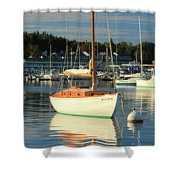 Sloop Reflections Shower Curtain by Roupen  Baker