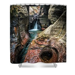 Slot Canyon Waterfall At Zion National Park Shower Curtain