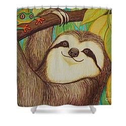 Sloth And Frog Shower Curtain