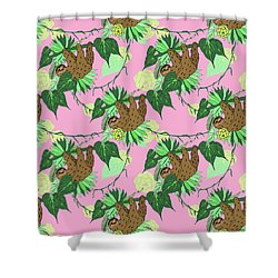 Sloth - Green On Pink Shower Curtain