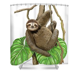 Sloth Hanging Around Shower Curtain by Thomas J Herring
