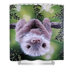 Sloth'n 'around Shower Curtain by Dianna Lewis