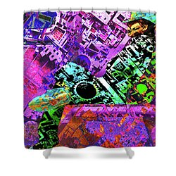 Shower Curtain featuring the mixed media Slouch by Tony Rubino
