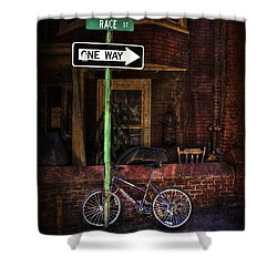 Slow Down On The Race Street Shower Curtain by Evelina Kremsdorf