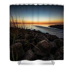 Slow Motion Runoff Shower Curtain by Allen Biedrzycki