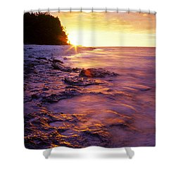 Shower Curtain featuring the photograph Slow Ocean Sunset by T Brian Jones