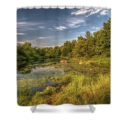 Slow Waters Of The Wkra River Shower Curtain
