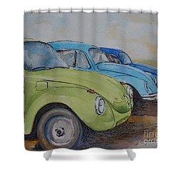 Slugbug Green Shower Curtain by Gretchen Bjornson