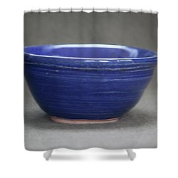 Small Blue Ceramic Bowl Shower Curtain by Suzanne Gaff