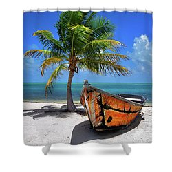 Small Boat And Palm Tree On White Sandy Beach In The Florida Keys Shower Curtain