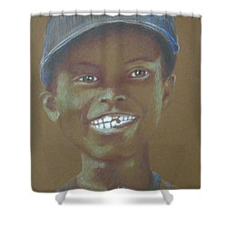 Small Boy, Big Grin -- Retro Portrait Of Black Boy Shower Curtain