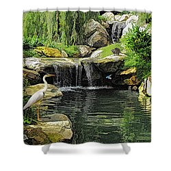 Small Creek Waterfall With Wildlife Shower Curtain